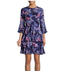 NWT Eliza J floral chiffon tiered dress